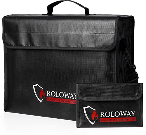 ROLOWAY Large (17 x 12 x 5.8 inches) Fireproof Bag, XL Fireproof Document Bags with Bonus Bag, Fireproof Safe and Wat...