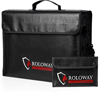 ROLOWAY Large (17 x 12 x 5.8 inches) Fireproof Bag, XL Fireproof Document Bags with Bonus Bag, Fireproof Safe and Water Re...