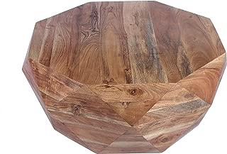 The Urban Port , Natural Brown Diamond Shape Acacia Wood Coffee Table With Smooth Top, Hexagon
