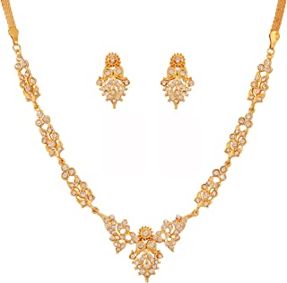 Indienne Ethnique BIJOUX plaqué Or Fashion Bollywood Pendentif Perles Collier Set