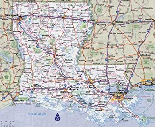 Gifts Delight Laminated 29x24 Poster: Road Map - Large Detailed Roads and Highways map of Louisiana State with All citiesMaps of