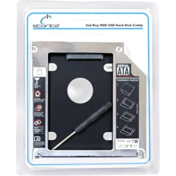 Storite Hard Drive SATA 2nd HDD Caddy Tray for Unibody 9.5mm Laptop CD/DVD-ROM Drive Slot Only for SSD and HDD