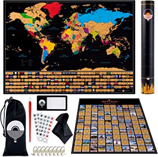 Scratch Off World Map Poster – with US States & Flags – Large 100 Places Scratch Off Poster + Gold World Map Travel Tracker – Includes Accessories Set – Deluxe Wall Art Gift for Travelers