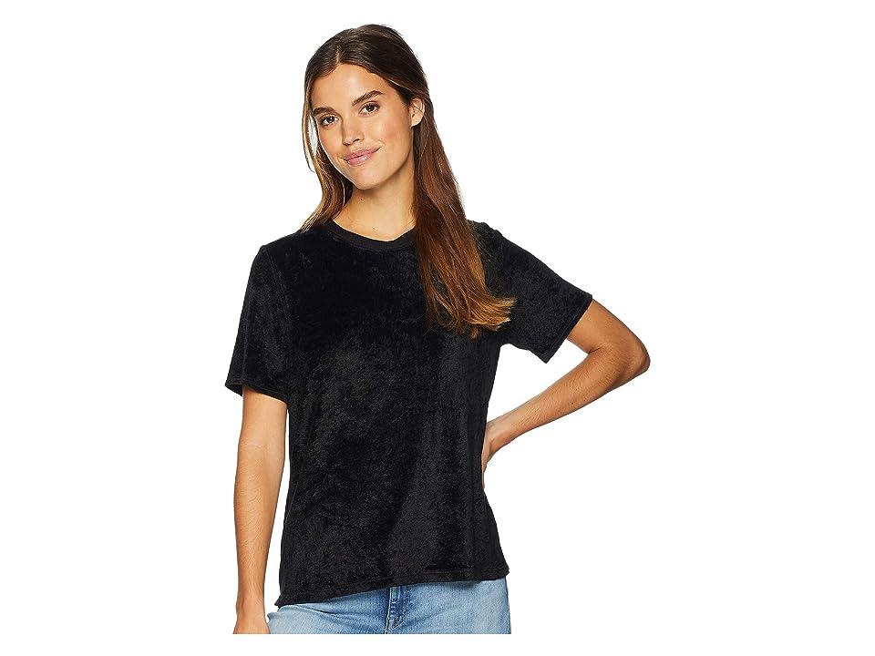 Michael Stars Vali Velvet Short Sleeve Crew Neck Tee (Black) Women