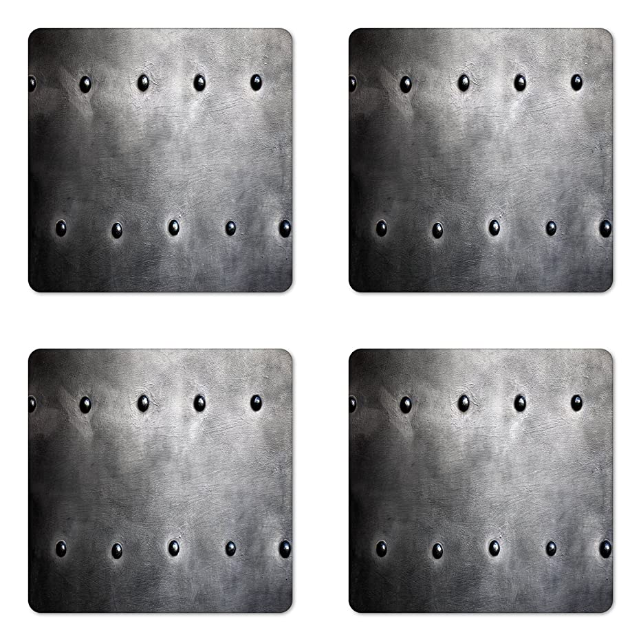 Ambesonne Industrial Coaster Set of Four, Black Grunge Plate Armour Digital Print with Rivets Industrial Theme Print, Square Hardboard Gloss Coasters for Drinks, Black Silver