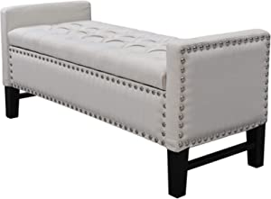 A to Z Furniture - Linen Button Tufted Nailhead Multi Position Storage Bench in Off White Color