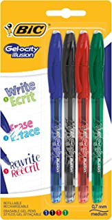BIC Gel-ocity Illusion bolígrafos de Gel Borrables punta media (0,7 mm) – colores Surtidos, Blíster de 4 unidades