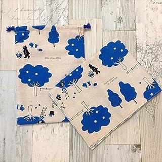 Jam's Ukulele SWK-195-1 / 給食袋&ナフキンセット 巾着袋 青 生成り くま 綿 女の子 ランチマット ランチクロス 入学準備 入学祝い 学用品 給食ナフキン ハンドメイド 手作り プレゼント