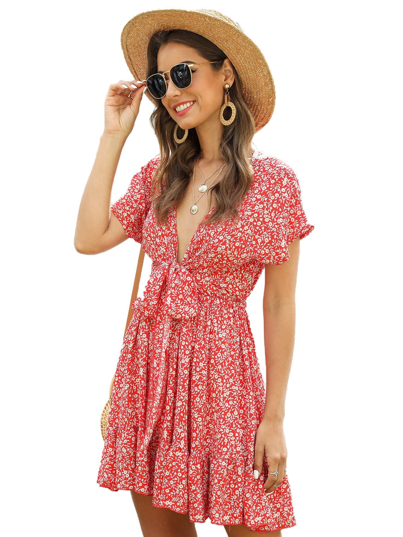 Women's Deep V-Neck Short Sleeve Tie Front Floral Print Ruffle Hem Dress