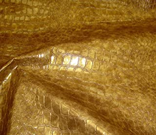 luvfabrics Embossed Gold Metallic Crocodile Pattern Upholstery Vinyl Fabric Per Yard Sold BTY Ships Rolled