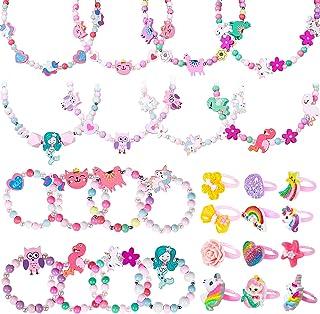 Tacobear 28pcs Bijoux Enfants Fille Licorne Bracelets Colliers Bagues Set Coloré Bois Flamant Sirène Hibou Bracelet Prince...