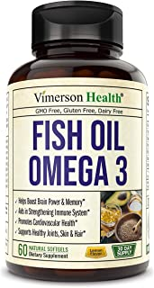 Fish Oil Omega 3 Softgels Supplement. Norway Sourced. Helps Boost Brain, Memory, Focus, Cognition. Promotes...