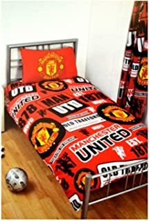 Manchester United FC Official Soccer Patch Twin Duvet and Pillow Set (One Size) (Red/Black/Yellow)