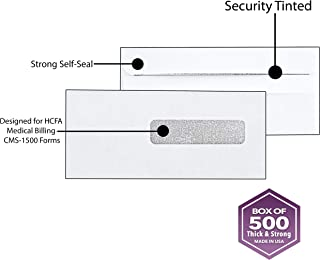 500 Claim Forms Envelopes, for Medical Billing Insurance Claim HCFA-1508, CMS-1500 Forms, Security Inside Tinted, Self-Seal Closure~Right Window Envelope~ 9 1/2