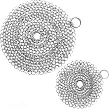 ONEEKK Cast Iron Skillet Cleaner Chainmail,2 Pack Premium Stainless Steel Chain Maille Scrubber for Cast Iron Pans,Stainle...
