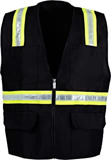 9032a5ea8d10 Safety Depot Safety Vest High Visibility Reflective Tape with 4 Lower  Pockets
