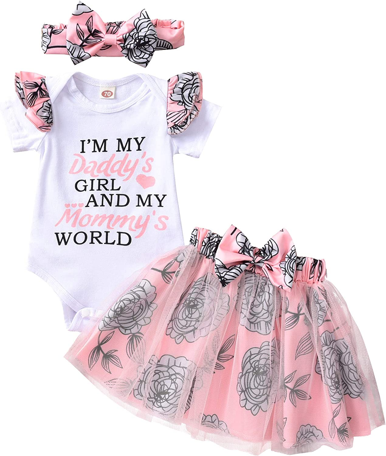 Infant Baby Girls Romper Outfits Ruffle Short Sleeve Bodysuit Onesies Floral Tulle Skirts Summer Clothes Set