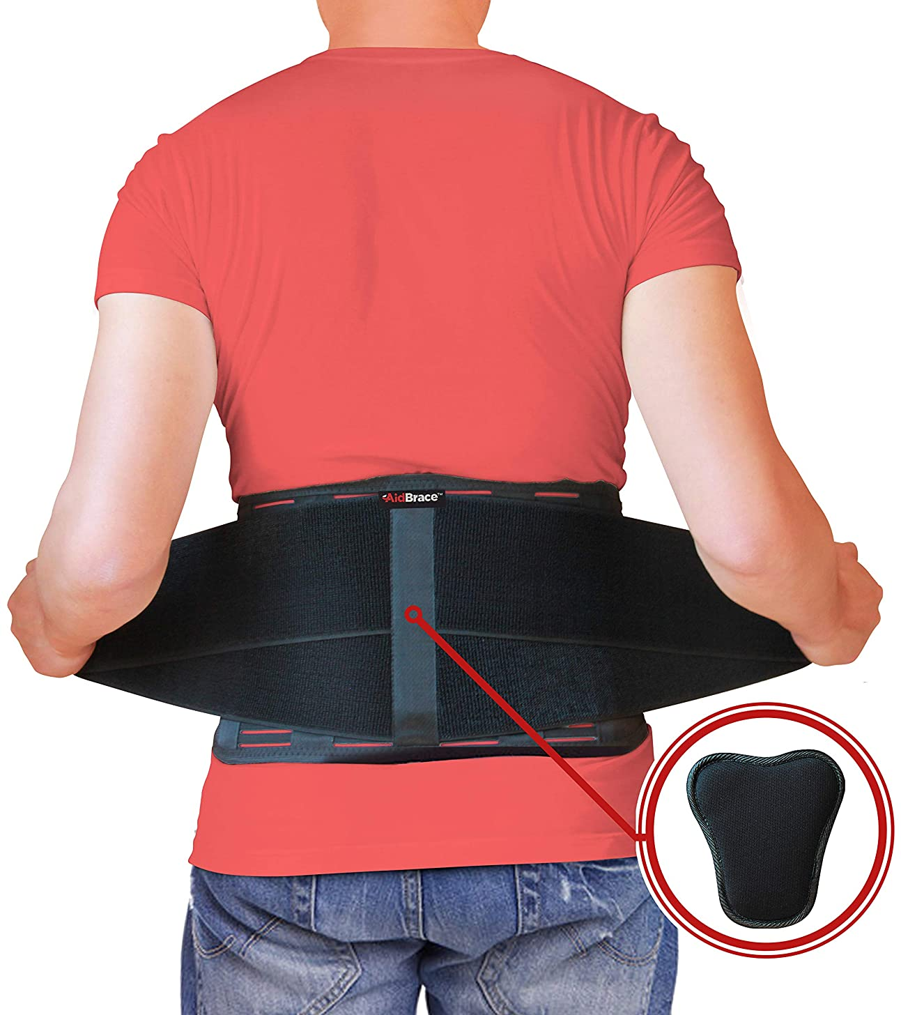 AidBrace Back Brace Support Belt - Lower Back Pain Relief for Herniated Disc, Sciatica, and Scoliosis for Men & Women - Includes Removable Lumbar Pad (L/XL)