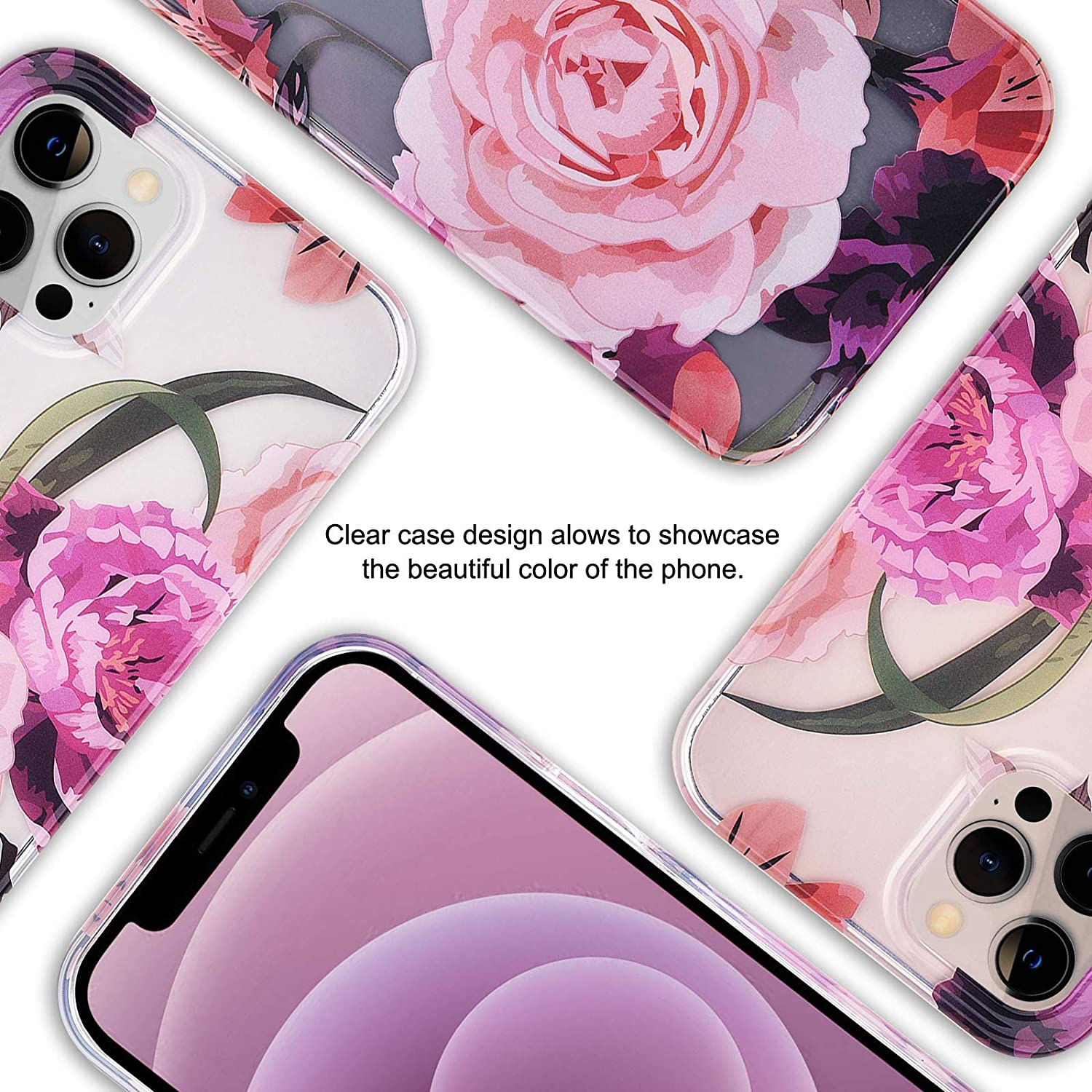 V-MORO Compatible with iPhone 12 Case//12 Pro Cases Cute Clear TPU Case Full Protective Cover for iPhone 12//12 Pro Women Girl Blue Flower
