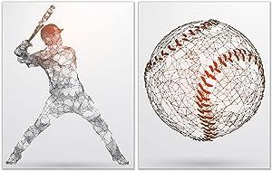 Baseball Wall Art Decor Prints - Set of 2 (11x14) Inch Unframed Poster Photos - Kids Bedroom Basement Man Cave Pictures