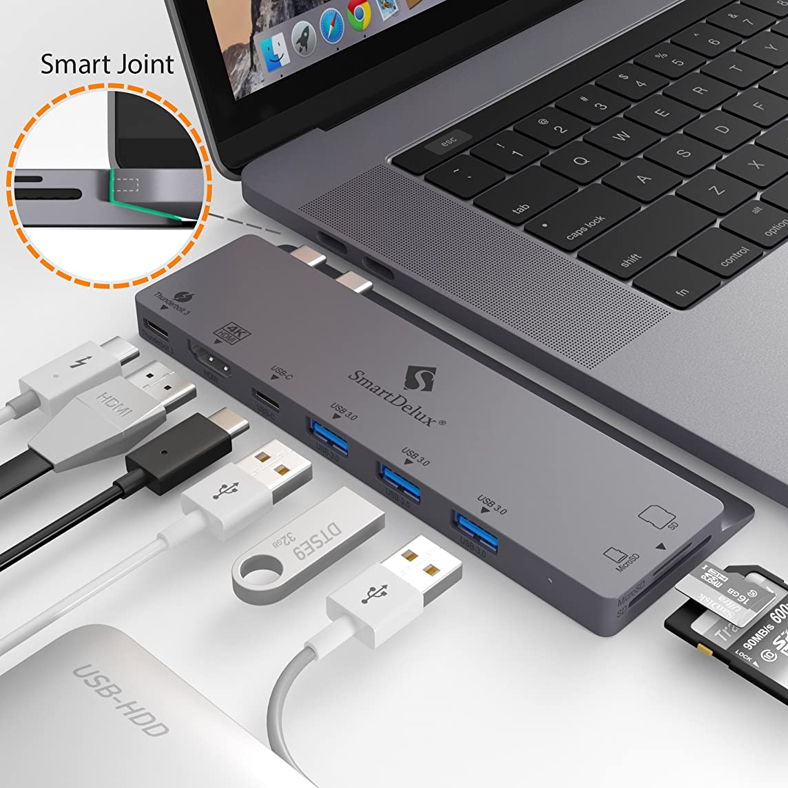 SmartDelux USB C Hub Adapter - 8-in-1 USB-C Hub for MacBook Pro 2016/2018 13