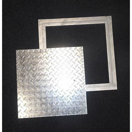 VEVOR 40x40 cm Stahl Schachtabdeckung begehbar Silber /Öffnungsgr/ö/ße 9,09 kg Riffelblech hochwertig Verzinkte Stahlplatte 47x47 cm Schachtdeckel quadratisch eckig mit rahmen Gesamtrahmengr/ö/ße
