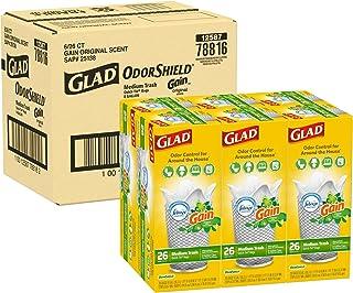 Glad Medium Quick-Tie Trash Bags - OdorShield 8 Gallon White Trash Bag, Gain Original with Febreze Freshness, 26ct, Pack o...