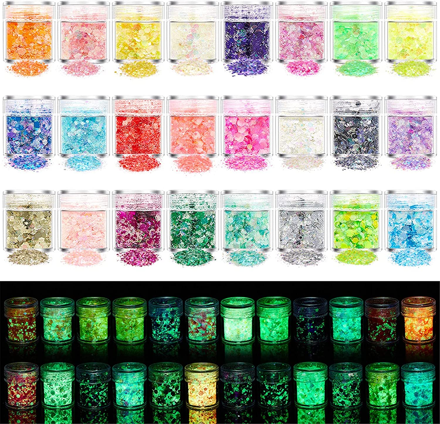 Sale Special Price Exte 24 Don't miss the campaign Colors Luminous Glitter Chunky Holographic Nail