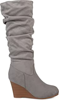 Brinley Co. Womens Regular and Wide Calf Slouchy Faux Suede Mid-Calf Wedge Boots