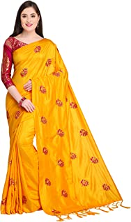 Women's Silk Embroidered Saree With Contrast Banarasi Jacquard Blouse Orange