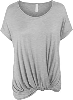 b300b422 FREE Shipping on eligible orders. KOGMO Womens Solid Basic Boatneck Dolman  Top with Knot on Hemline