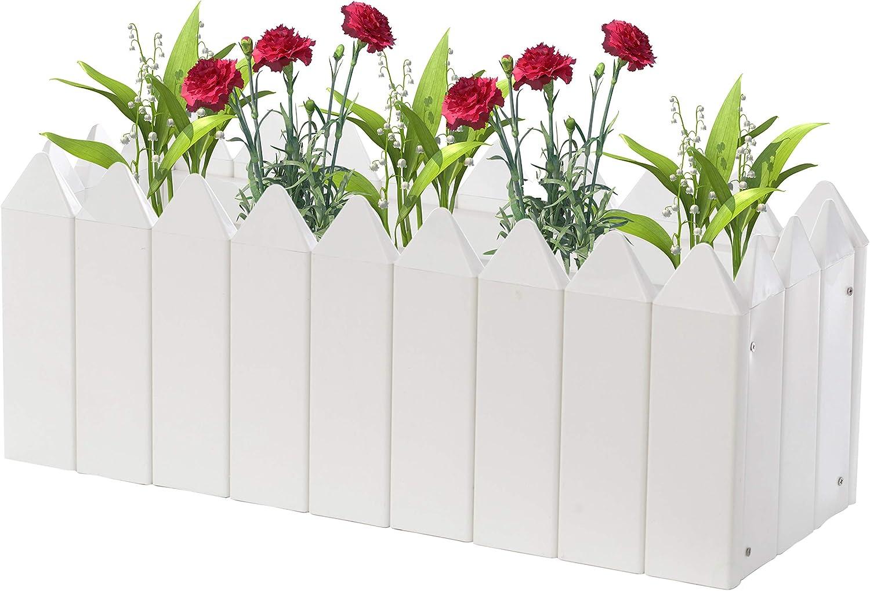 Gardenised Rectangular Traditional Fence Design Planter Vinyl Bo Japan's largest assortment 2021