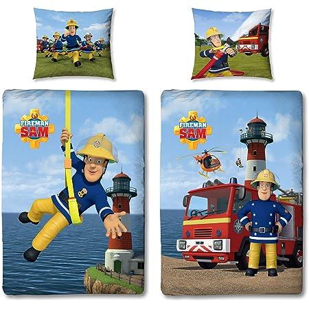 Character World – Parure de lit réversible – Avec 2motifs Sam le pompier – 100% linon de coton – fermeture éclair – 100x135cm et 60x40cm