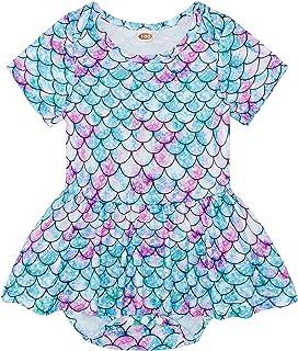 Vogseek Baby Girl Dress Short Sleeves Baby Skirt Newborn Girl Summer Outfit Clothes for 0-18 Months