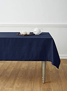 Solino Home Hemstitch Cotton Linen Tablecloth – 58 x 104 Inch, Natural Fabric Machine Washable - Navy Tablecloth for Indoor and Outdoor use