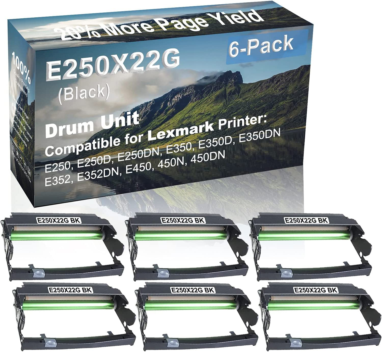6-Pack Compatible Drum Unit (Black) Replacement for Lexmark E250X22G Drum Kit use for Lexmark E352DN, E450, 450N, 450DN Printer