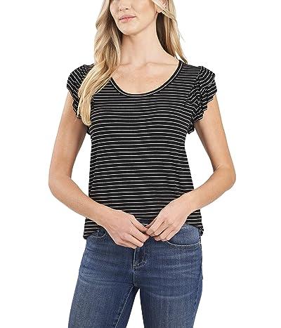 CeCe Long Sleeve Ruffled Striped Rib Knit Top