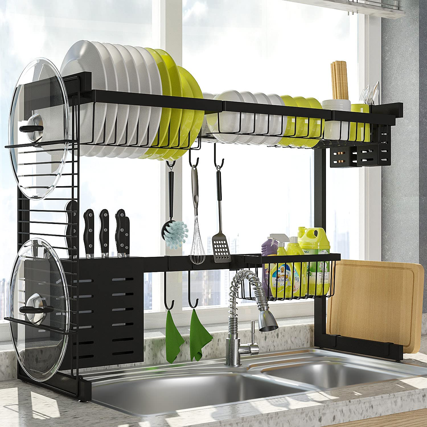 Popular brand in the world Over 2021 spring and summer new The Sink Dish Drying Rack TOOLF Above Sin 2-Tier