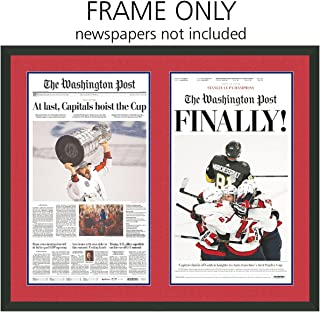 Washington Post Newspaper Frame - with Washington Capitals Colors Double Mat