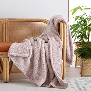 """Ultra Soft Cozy Sherpa Throw Blanket, 2 Tones Ombre Dusty Pink Pattern Reversible, Light Weight Warm Decorative Boho Style Throw Blanket Cover for Sofa, Couch, Bedroom,Travel, 60""""x80"""""""