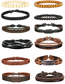 دستبند چرمی بافته شده Jstyle 6-12Pcs برای مردان دستبند دستباف دستبند سیاه و قهوه ای قابل تنظیم