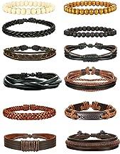 Jstyle 6-12Pcs Braided Leather Bracelet for Men Women Cuff Wrap Bracelet Adjustable Black and Brown