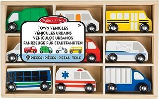 Melissa & Doug- Wooden Town Vehicles Set, Multicolor (13170)