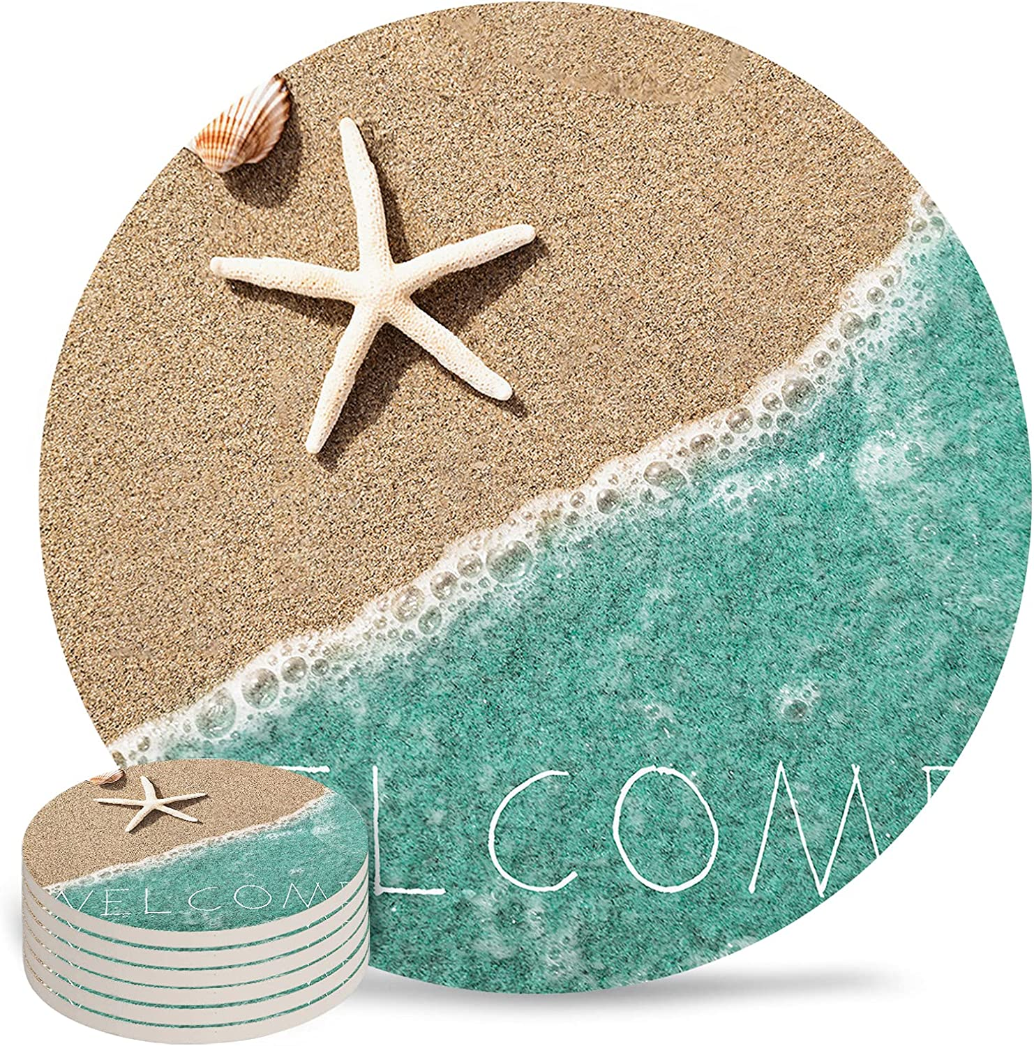 Ocean Coaster Max 54% OFF for 35% OFF Drinks 4 Inch Pad Co Ceramic Drink Absorbent