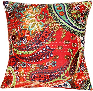 Indian Paisley Throw Pillow Case Home Decor Bedroom Decor Boho Decor Boho Chic Bohemian Decorative Pillow for Couch Cotton Sequin Floral Kantha Handmade Cushion Cover (16x16) inch