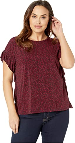 Plus Size Paisley Fields Ruffle Top