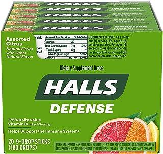 HALLS Defense Vitamin C Drops, Assorted Citrus Flavors, 20 Pocket Sticks (9 Drops Per Stick)