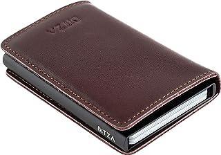 Bitza Dark Brown Leather For Unisex - Bifold Wallets