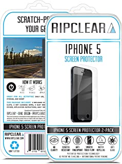 RIPCLEAR Screen Protector Kit for iPhone 5/5S/5C Unbreakable Cover - Military Grade Scratch-Resistant, All-Weather Protection, Crystal Clear - 2-Pack