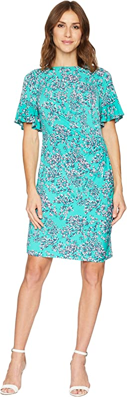 Boat Neck Short Sleeve Mini Print Sheath Dress